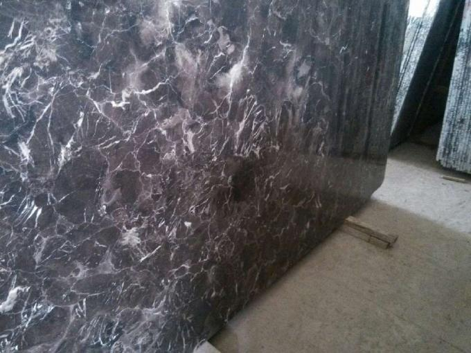 Light / Dark Brown Gloss Marble Floor Tiles Indoor Decoration For Wall / Stair