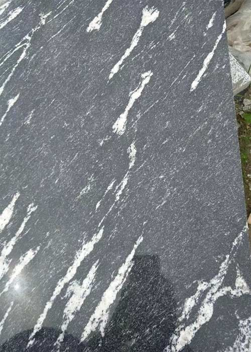 Black Granite Stone Slabs Snow Grey Slab Tile Polished Sawn Flamed Corrosion Resistance