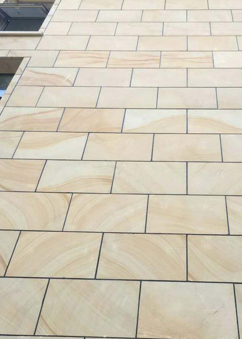 Wooden vein Sandstone natural sawn cut bushhammered honed tile slabs