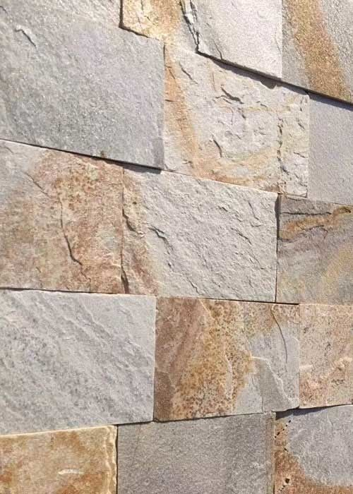 Natural slate culture stone sawn cut split China yellow beige color