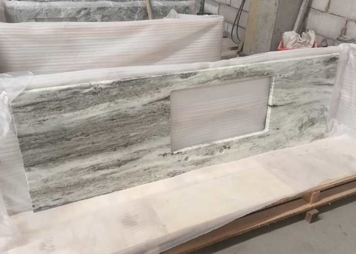 Multi Color Green Marble Stone Countertops , Marble Kitchen Countertops CE Certification