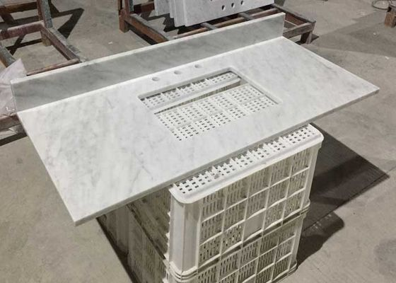 White Marble Stone Countertops , Bianco Carrera Marble Countertop Wear Resistance